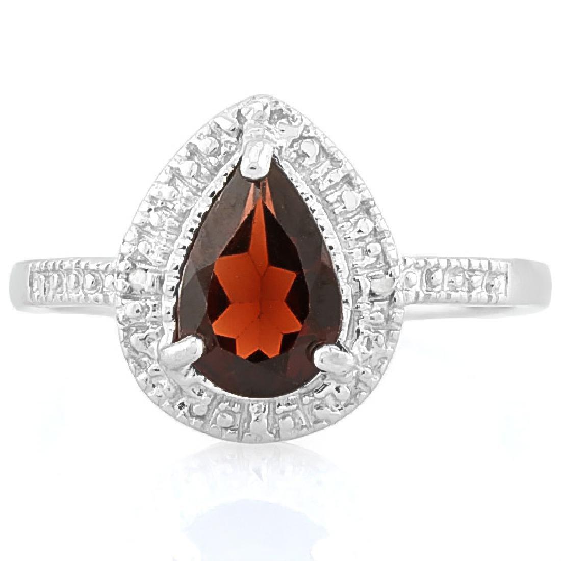 1 1/2 CARAT GARNET & DIAMOND 925 STERLING SILVER RING