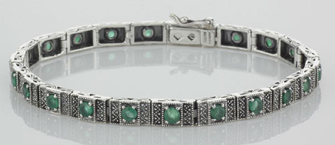 Beautiful Victorian Style Emerald Filigree Link Bracele