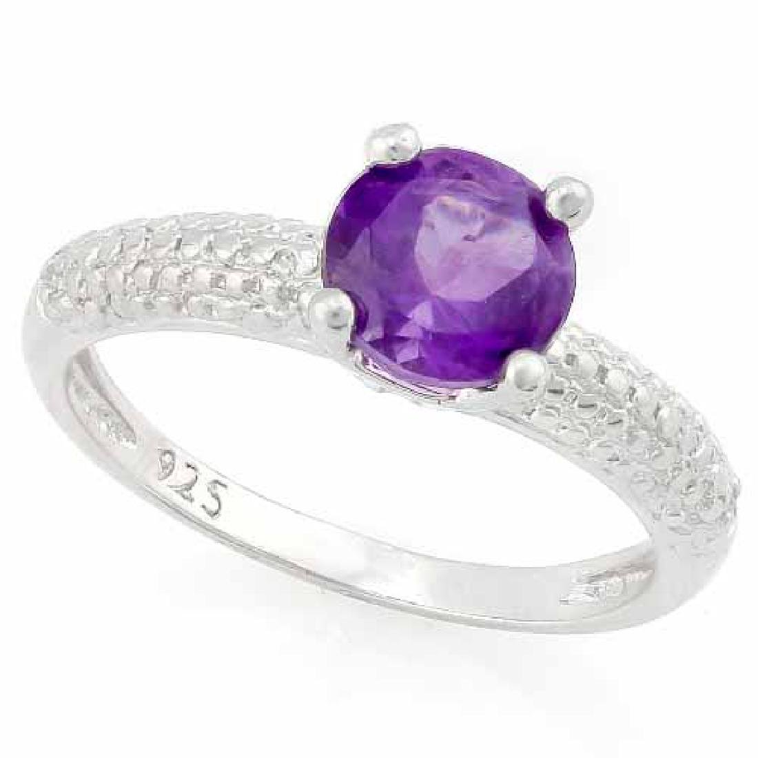 1 2/5 CARAT AMETHYST & DIAMOND 925 STERLING SILVER RING