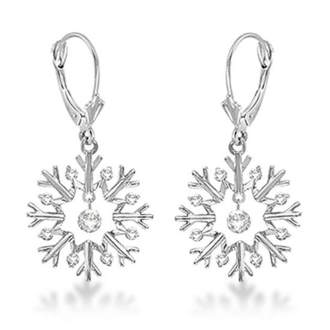 Snowflake Shaped Dangle Drop Diamond Earrings 14K White