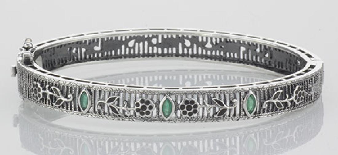 Victorian Style Floral Filigree Emerald Bangle Bracelet