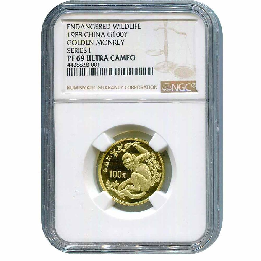 China 100 Yuan Gold 1988 Golden Monkey PF69 NGC