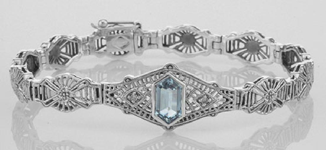 Art Deco Style Blue Topaz / Diamond Filigree Bracelet -