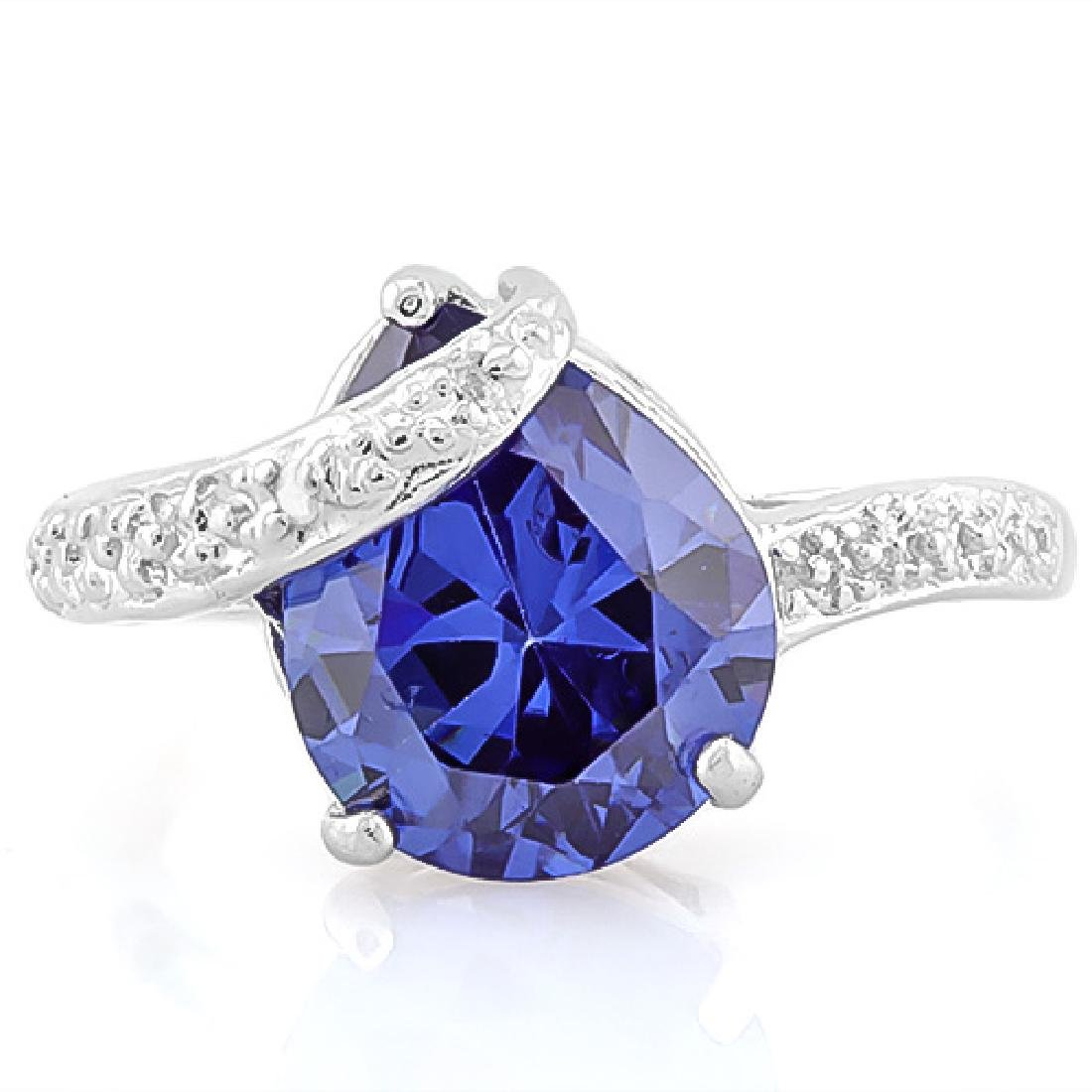 5 CARAT LAB TANZANITE & DIAMOND 925 STERLING SILVER RIN