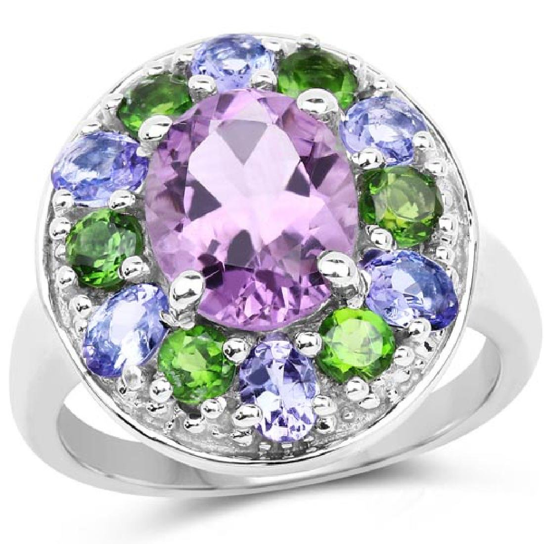 3.89 Carat Genuine Amethyst Tanzanite and Chrome Diops