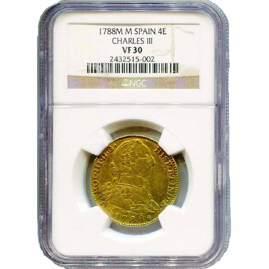 Spain 4 Escudos Gold Charles III 1788M VF30 NGC