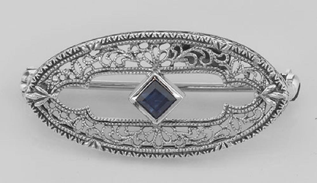 Antique Style Filigree Blue Sapphire Pin / Brooch - Ste