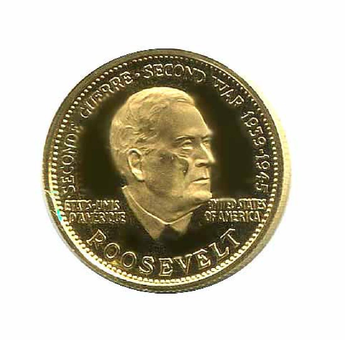 WWII Commemorative Proof Gold Medal 7g. 1958 Roosevelt