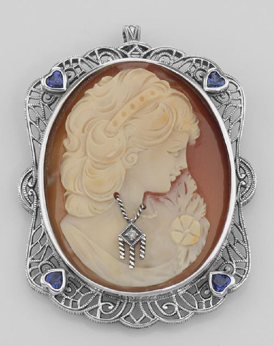 Italian Handcarved Cameo Pin Pendant w/ Sterling Silver
