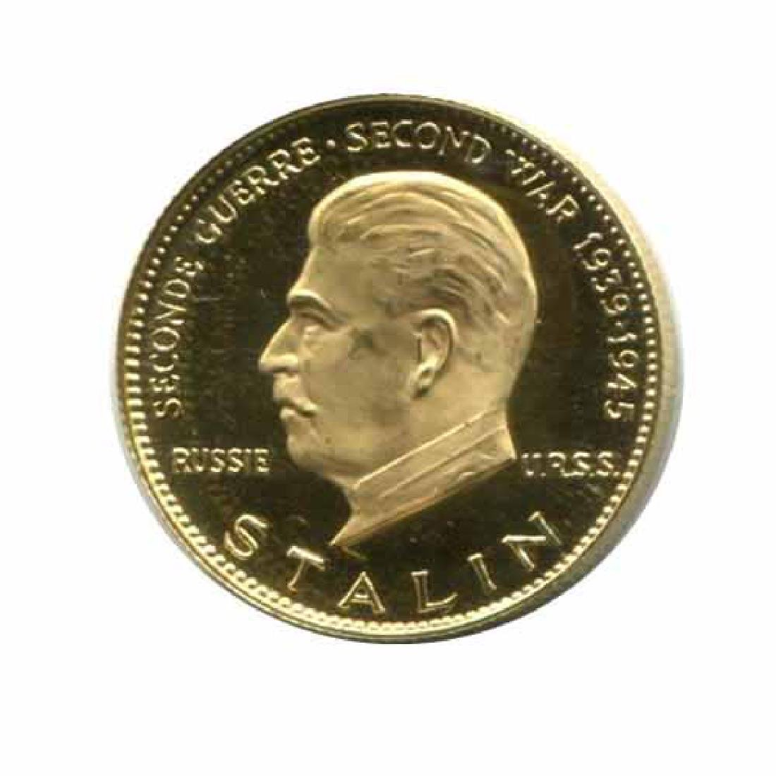 WWII Commemorative Proof Gold Medal 7g. 1958 Stalin