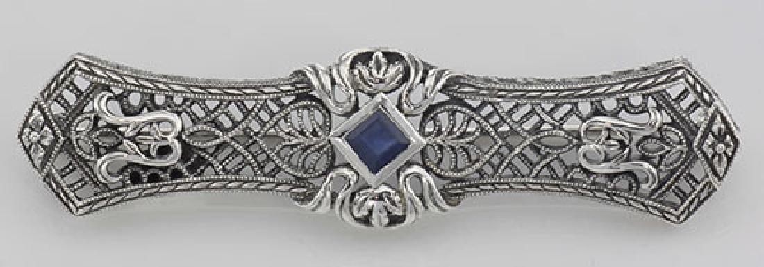 Art Deco Style Blue Sapphire Filigree Bar Pin / Brooch
