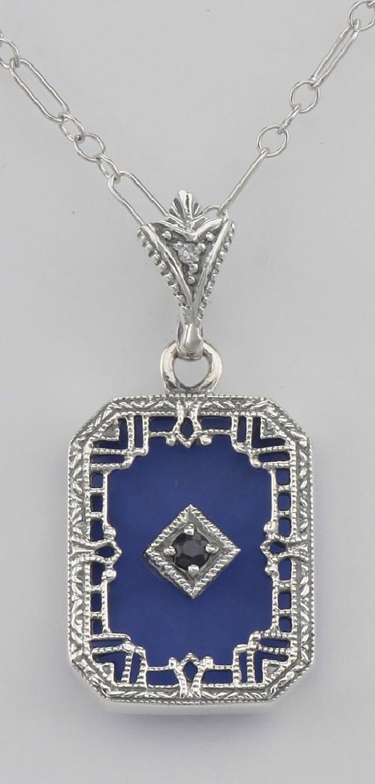 Blue Crystal - Camphor Glass - Sapphire Filigree Sterli