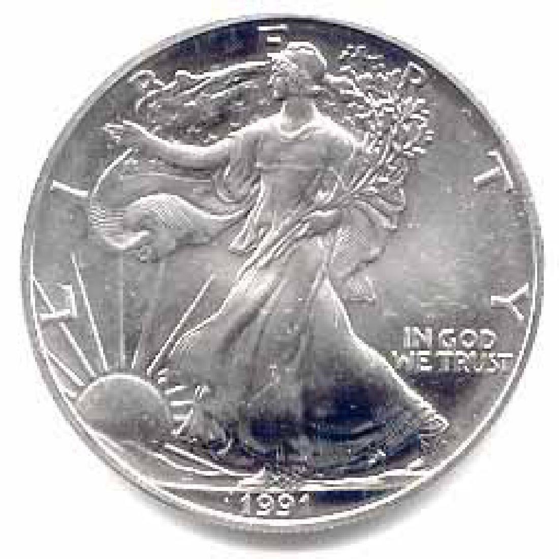 1991 1 oz Silver American Eagle BU