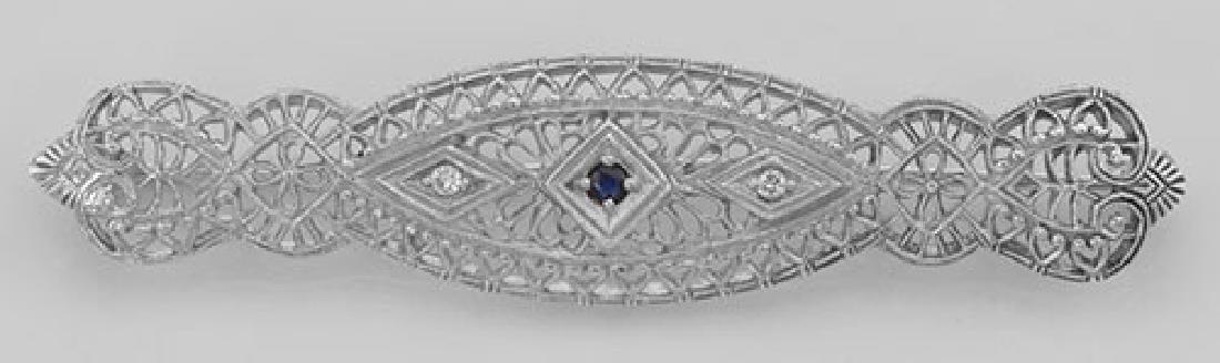 Art Deco Filigree Pin Brooch Blue Sapphire and Diamond