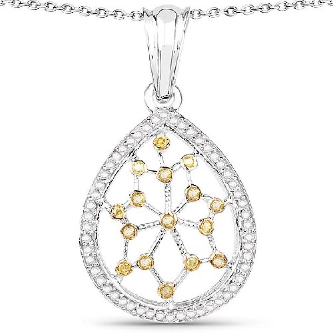 0.45 Carat Genuine White Diamond and Yellow Diamond .92