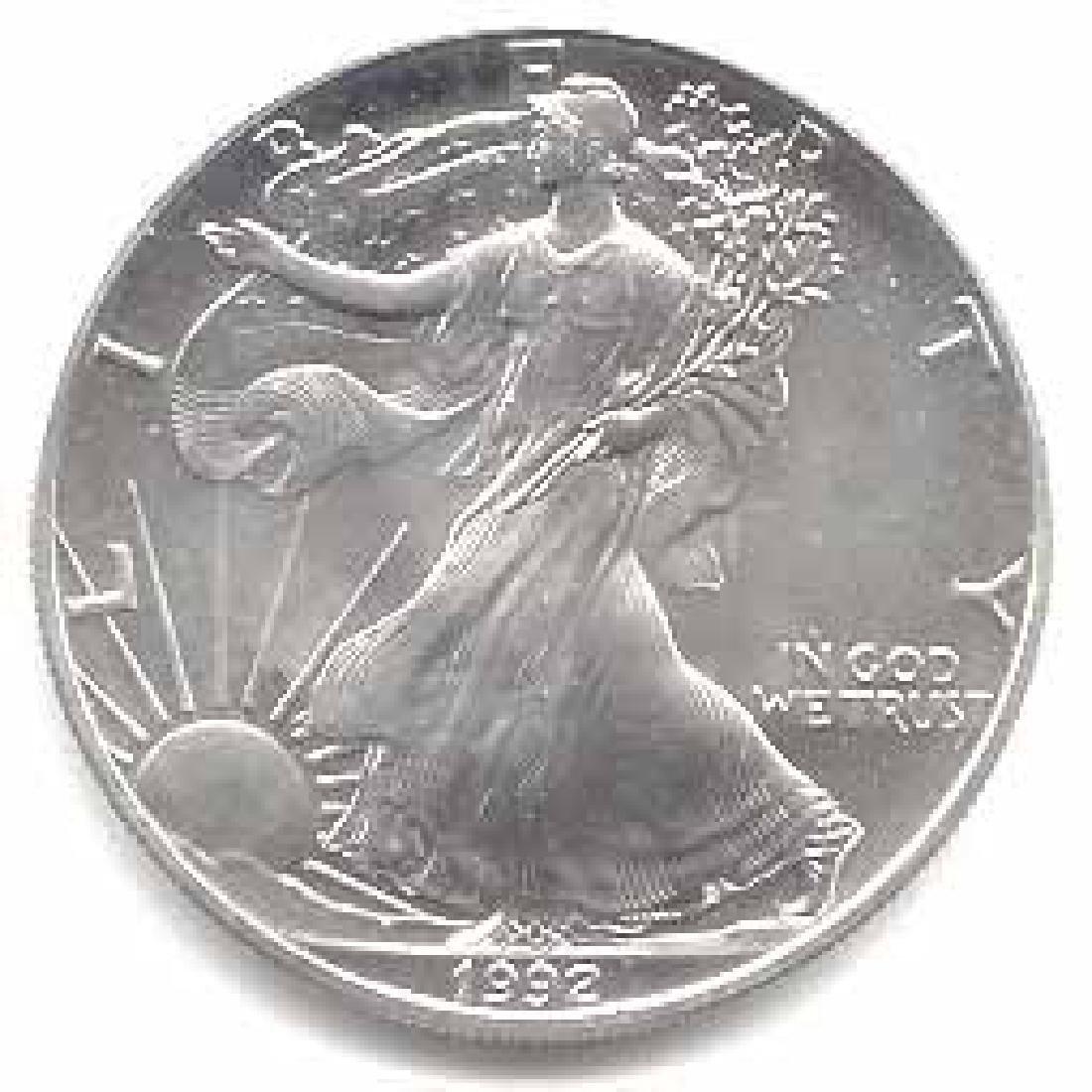 1992 1 oz Silver American Eagle BU