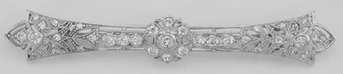 Classic Antique Style Filigree Bar Pin / Brooch w/ CZ -