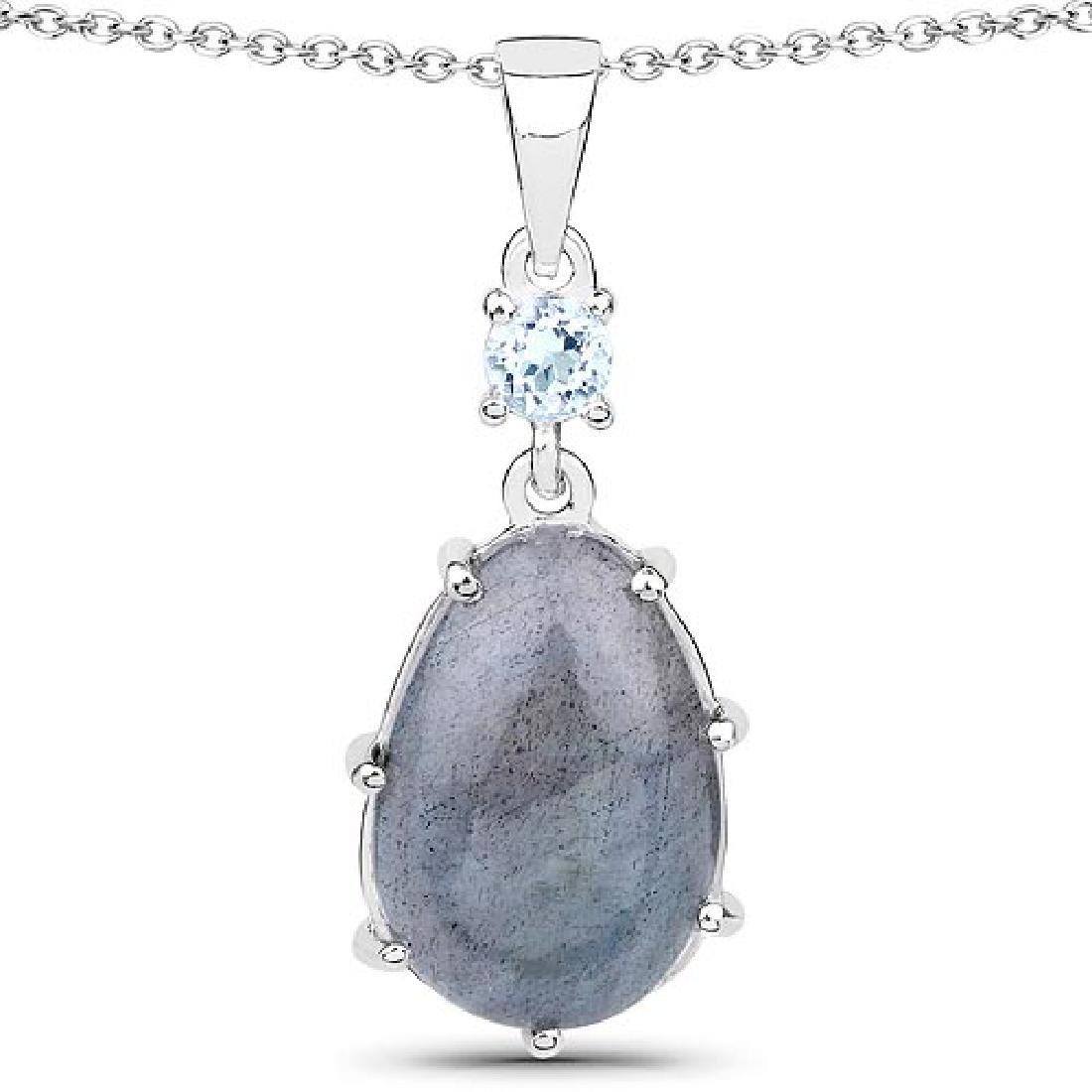 4.35 Carat Genuine Labradorite and Blue Topaz .925 Ster
