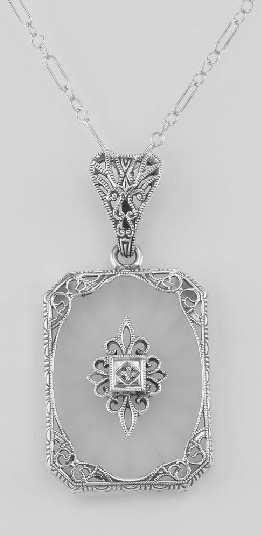 Frosted Crystal Camphor Glass Filigree Diamond Pendant