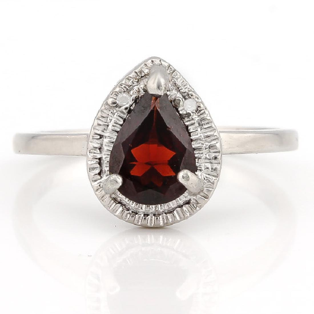 1 1/2 CARAT GARNET & DIAMOND 925 STERLING SILVER RING