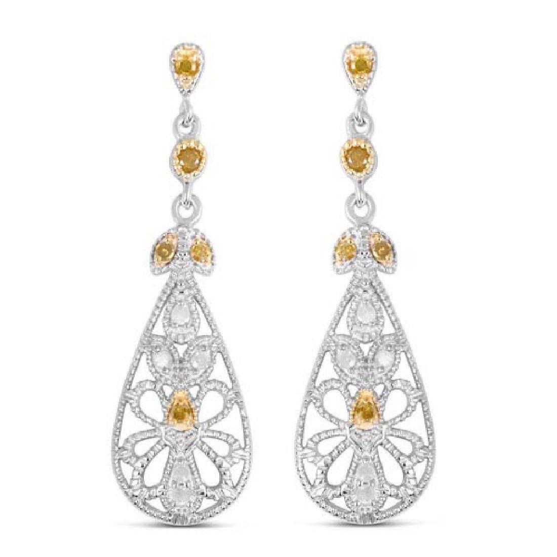 0.33 Carat Genuine White Diamond and Yellow Diamond .92