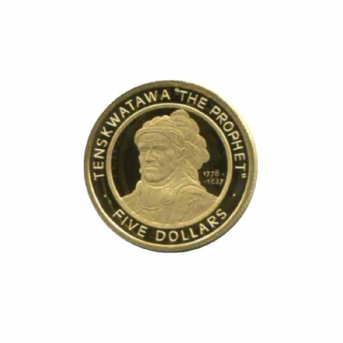 Shawnee Nation $5 gold PF 2002 Tenskwatawa