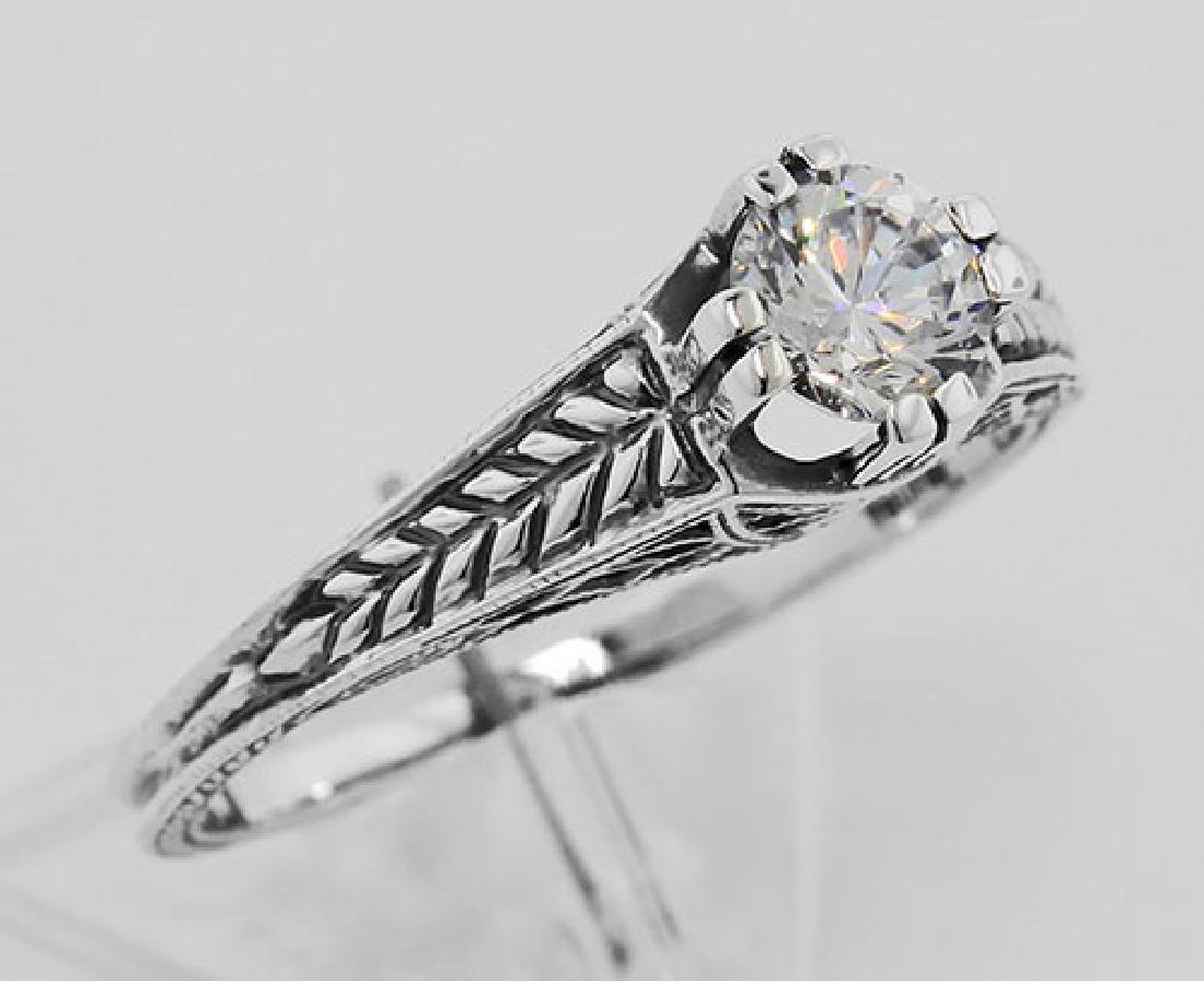 Beautiful Victorian Style CZ Solitare Filigree Ring - S