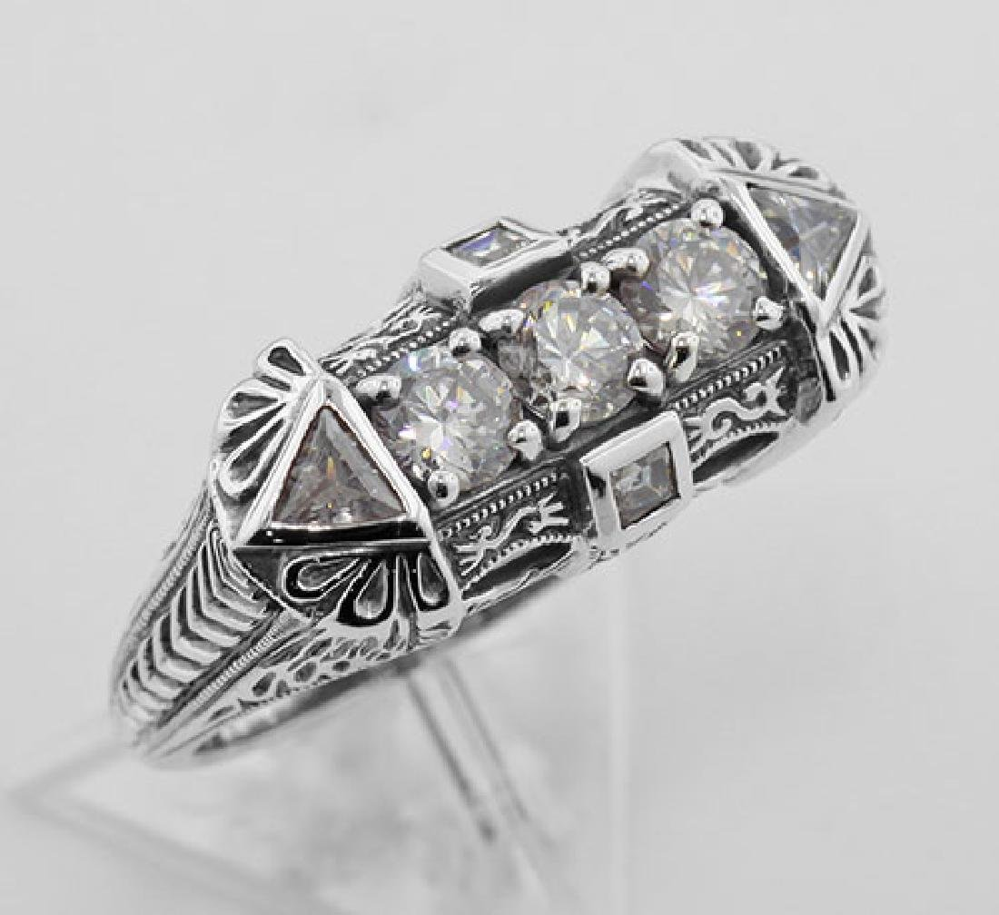 Art Deco Style Sterling Silver Filigree Ring w/ CZ
