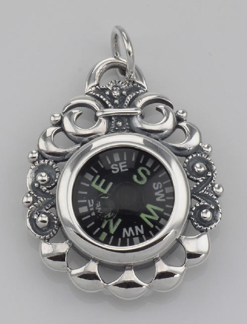 Victorian Style Scroll Design Compass Pendant Sterling