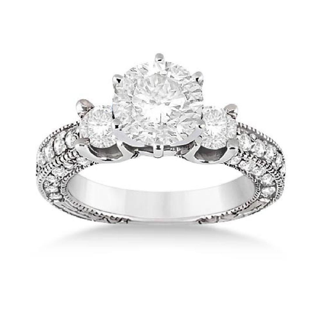 Vintage Three-Stone Diamond Engagement Ring 18k White G