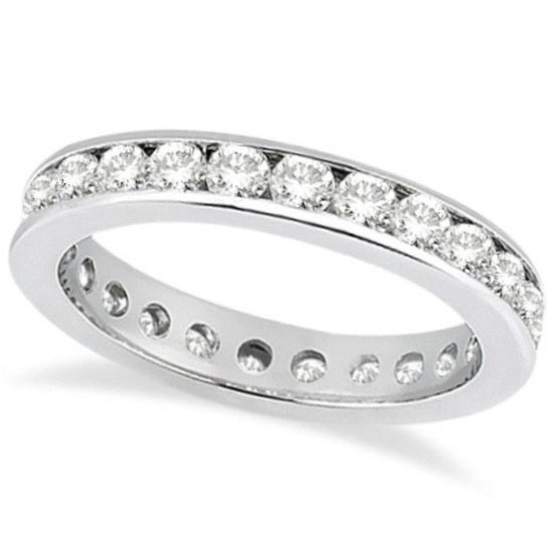 Channel Set Diamond Eternity Ring Band 14k White Gold (