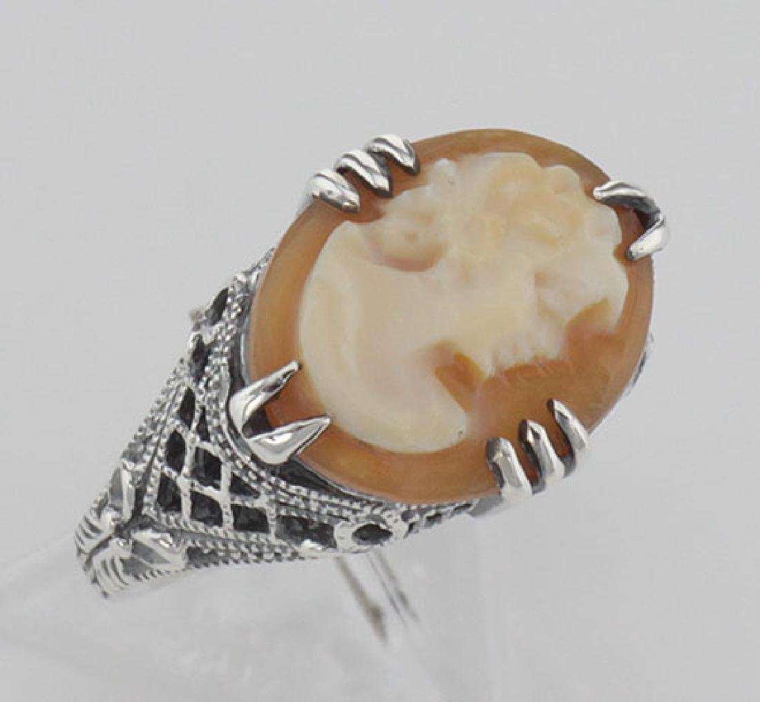 Antique Style Hand Carved Italian Shell Cameo Ring - St