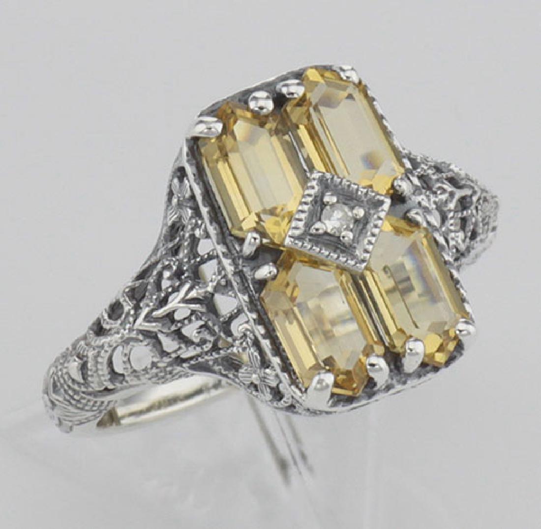 2 Carat Citrine Filigree Ring w/ Diamond - Sterling Sil