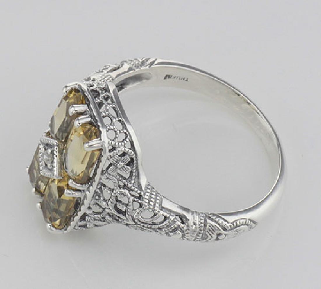 2 Carat Citrine Filigree Ring w/ Diamond - Sterling Sil - 3