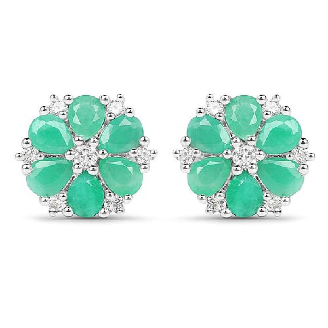 2.02 Carat Genuine Emerald and White Zircon .925 Sterli
