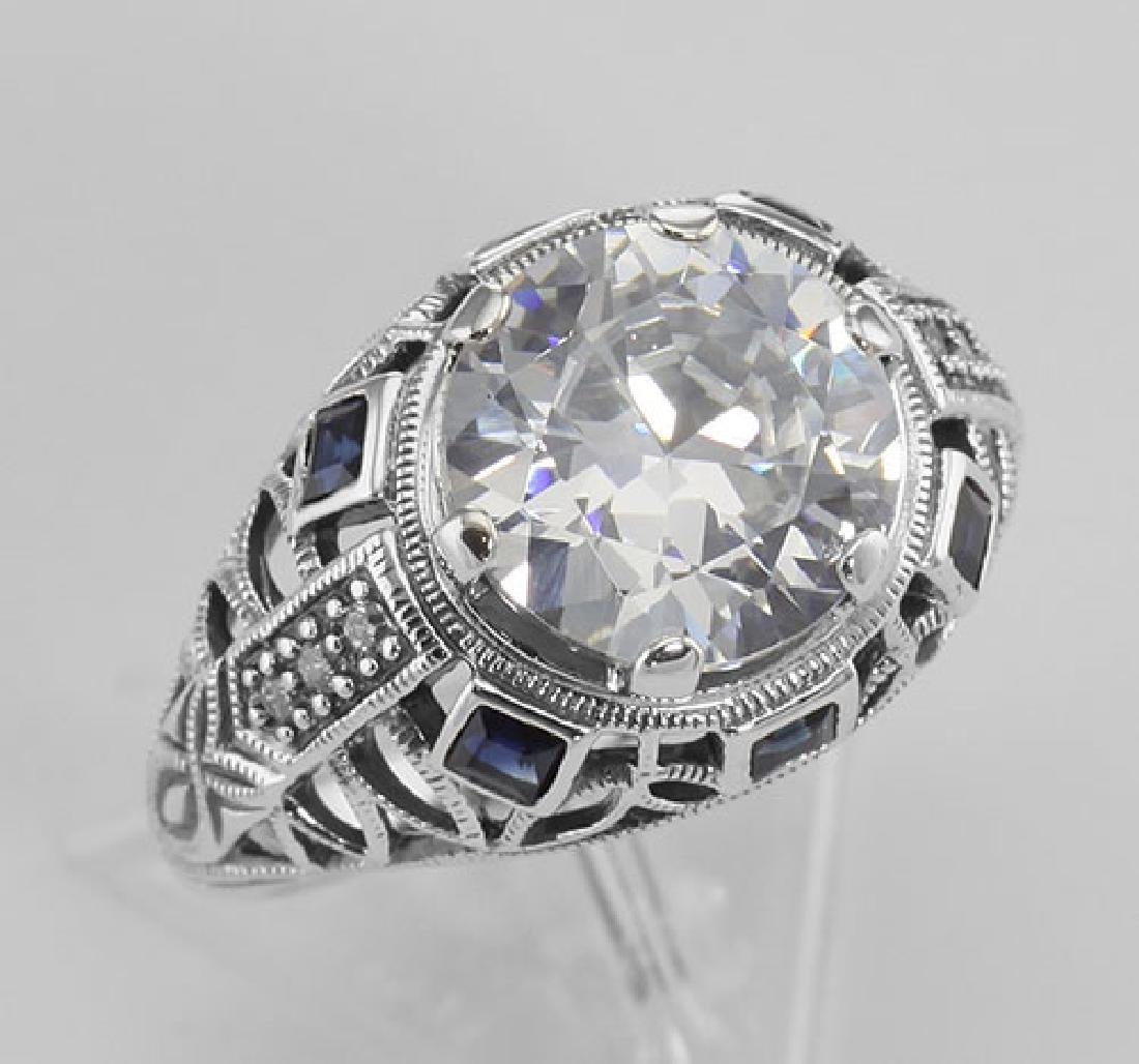 Art Deco Style Sterling Silver Filigree CZ Ring w/ Sapp
