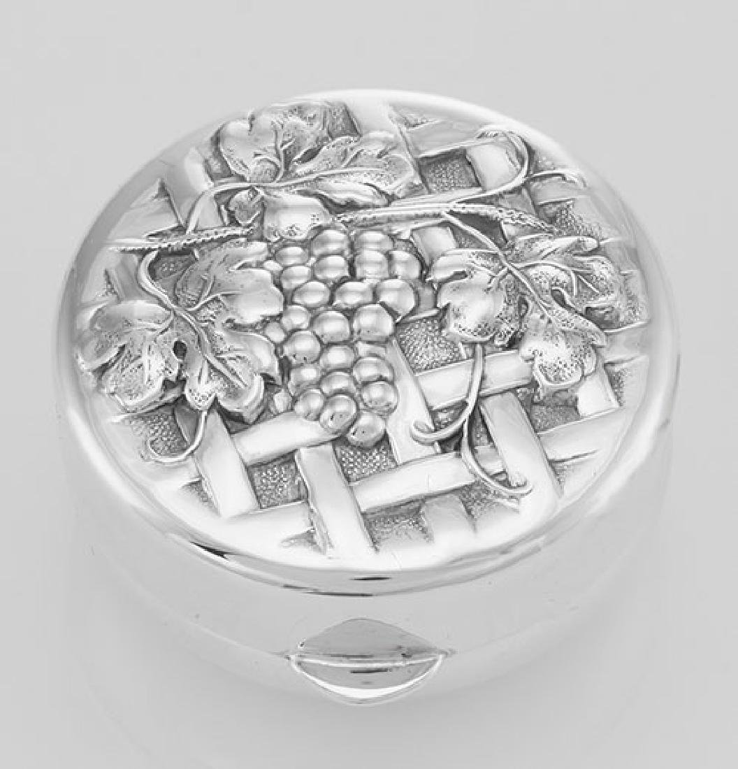 Sterling Silver Vine and Grapes on Trellis Design Pillb