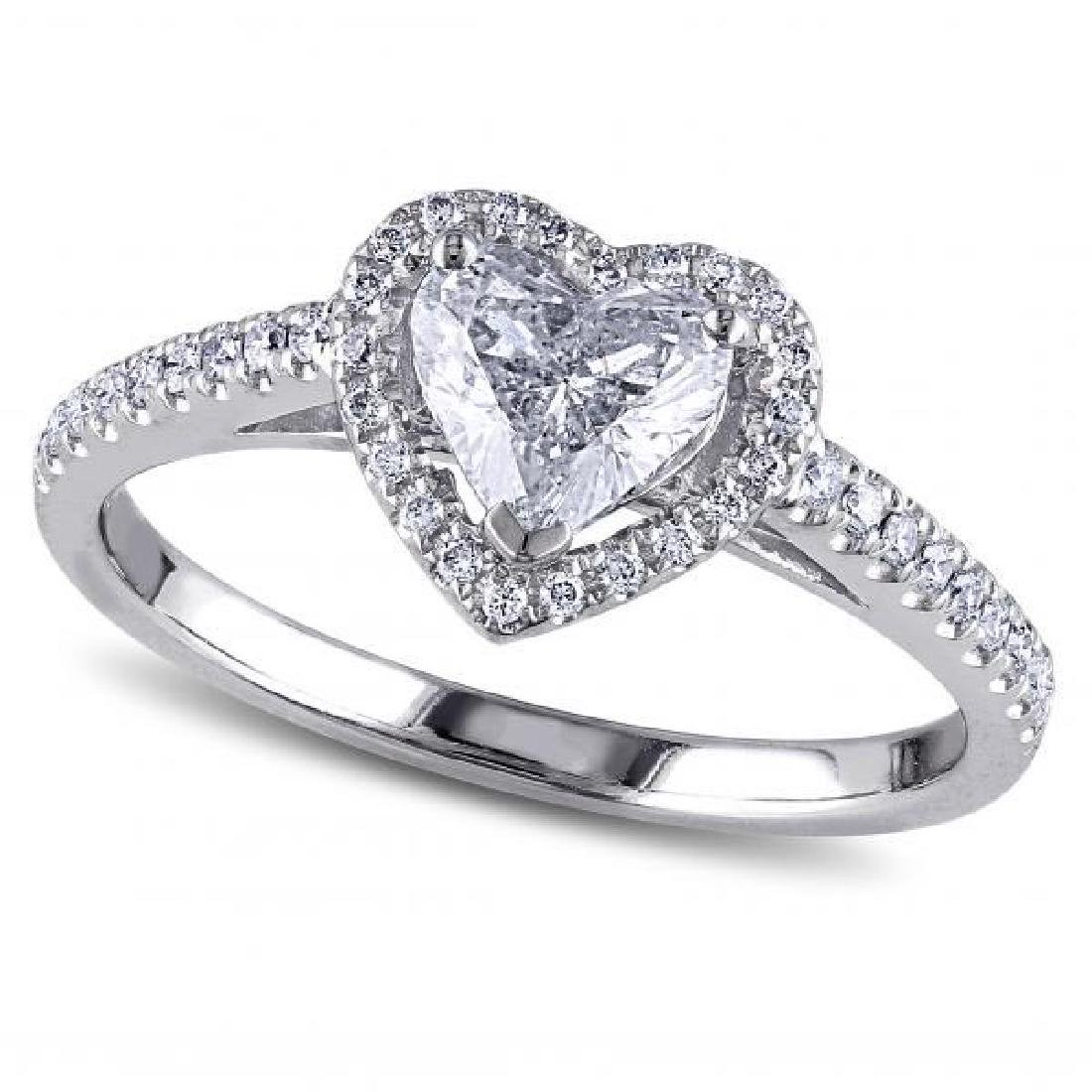 Heart Shaped Diamond Halo Engagement Ring in 14k White