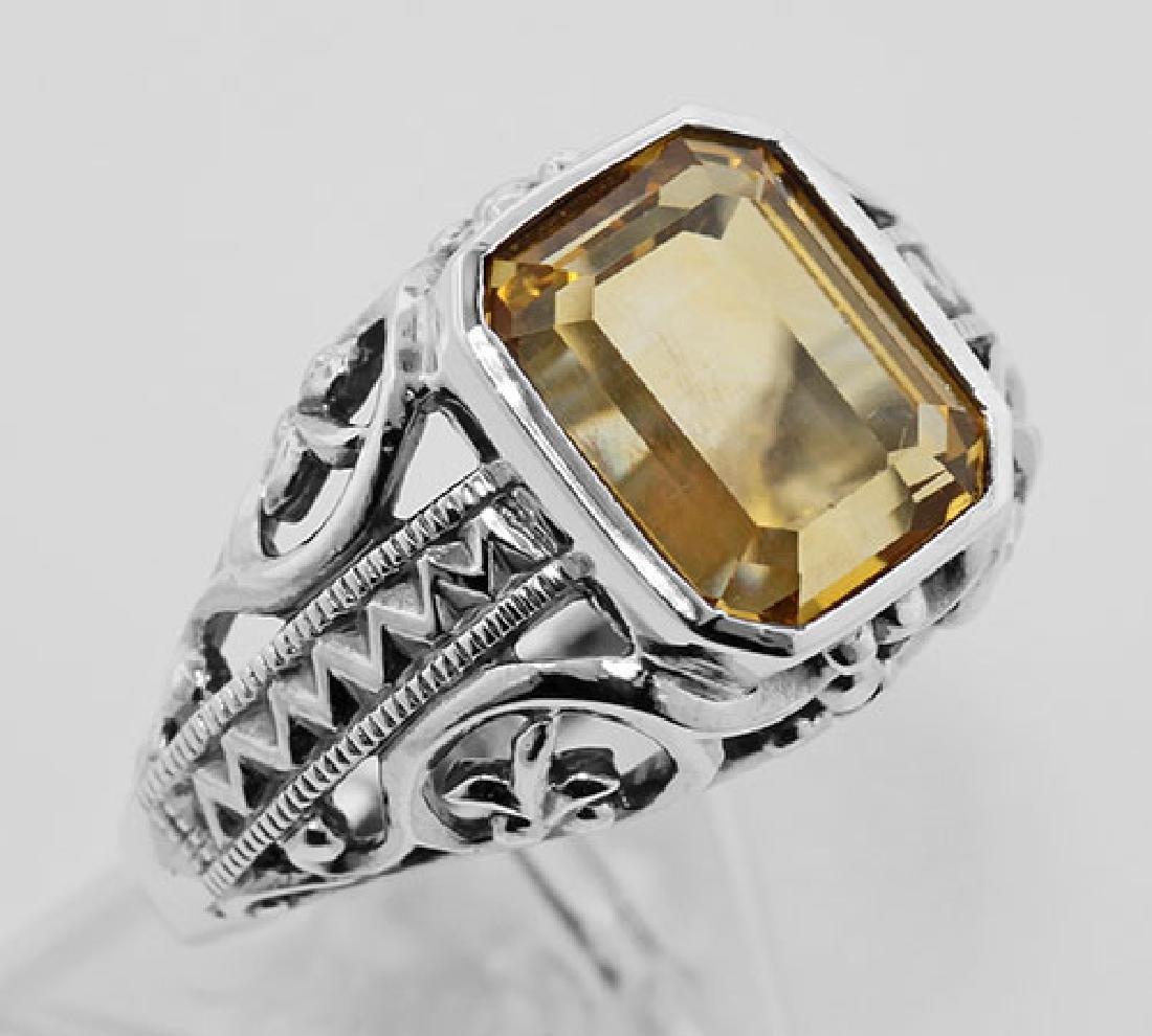 Citrine Filigree Ring - Sterling Silver