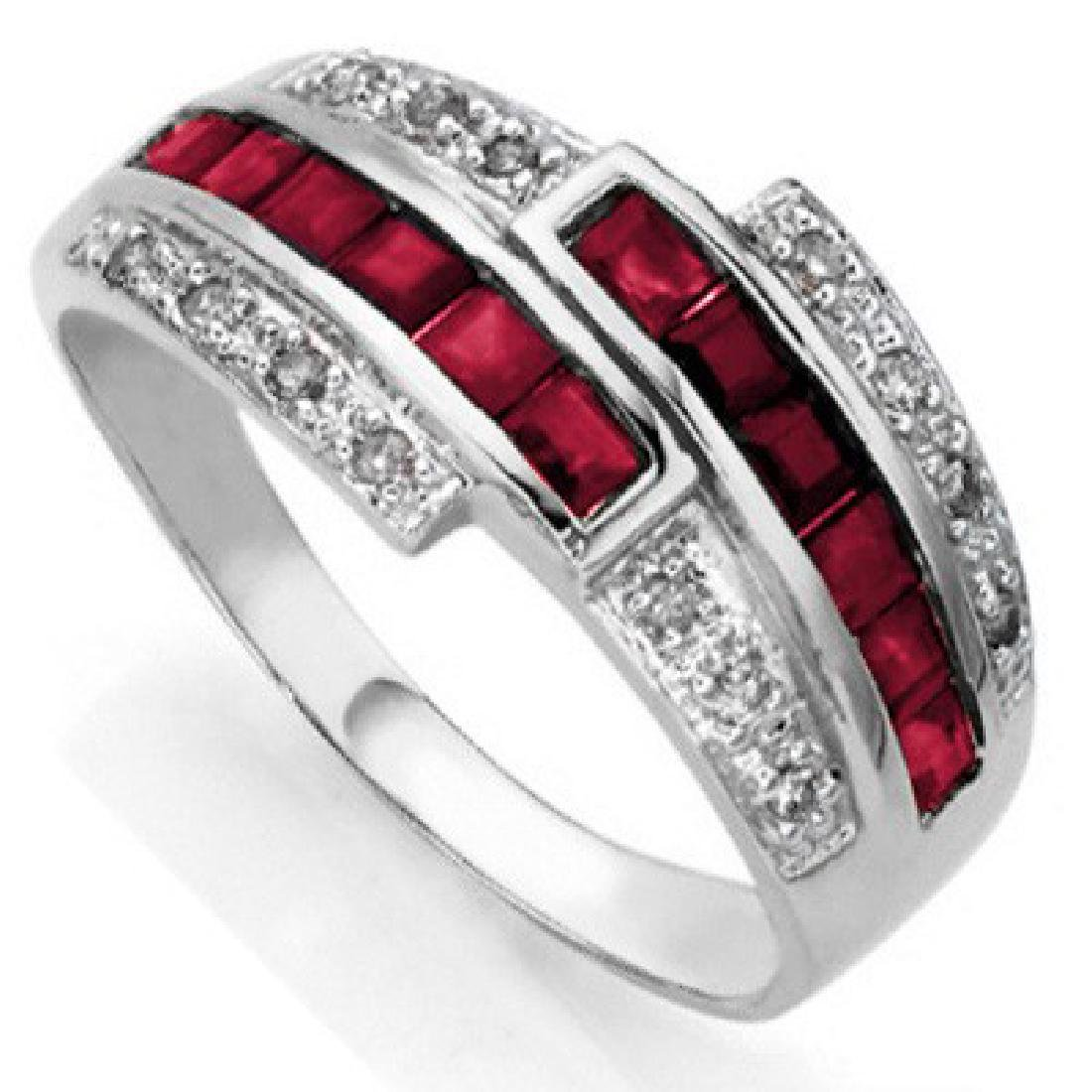 0.88 CT GENUINE RUBY & 2 PCS WHITE DIAMOND 0.925 STERLI