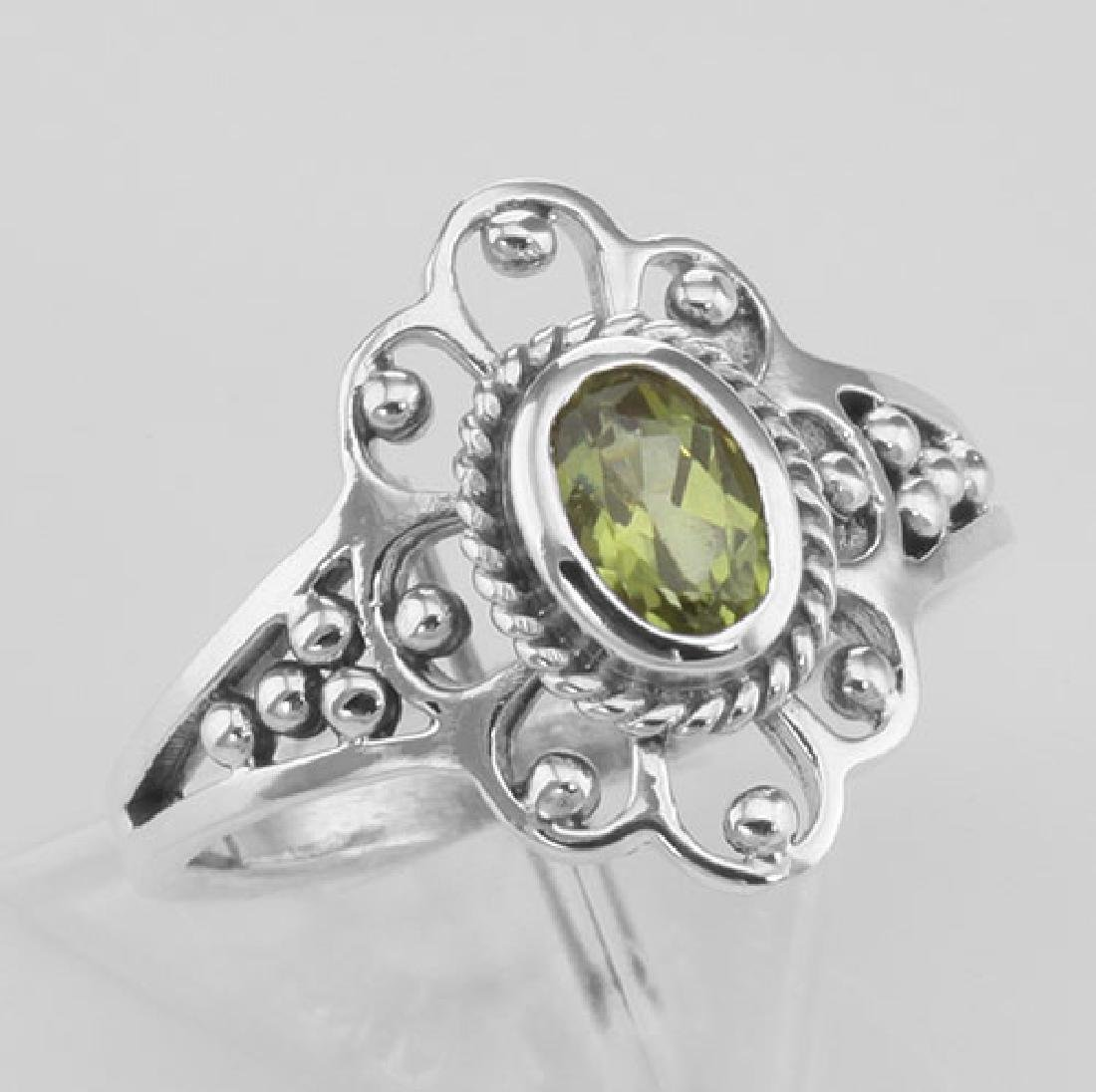 Antique Style Genuine Peridot Ring - Sterling Silver