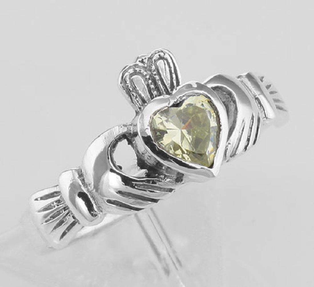 Irish Claddagh Ring Light Green Peridot CZ - Sterling S