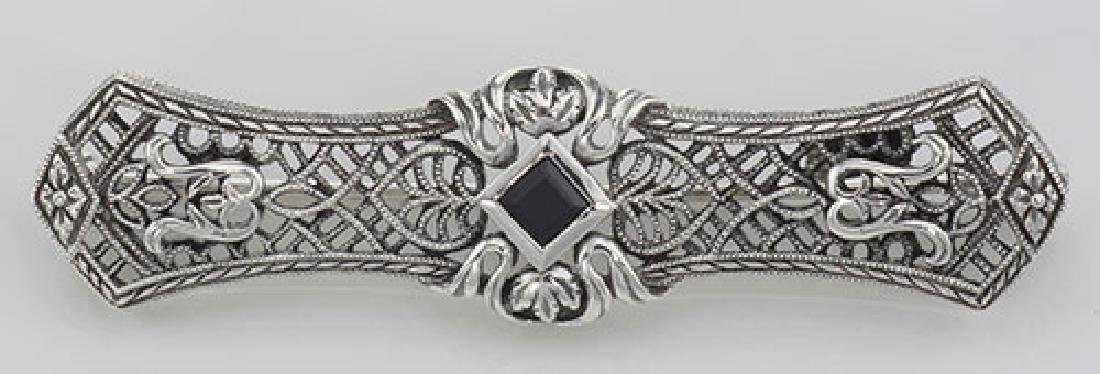 Art Deco Style Black Onyx Filigree Bar Pin / Brooch - S