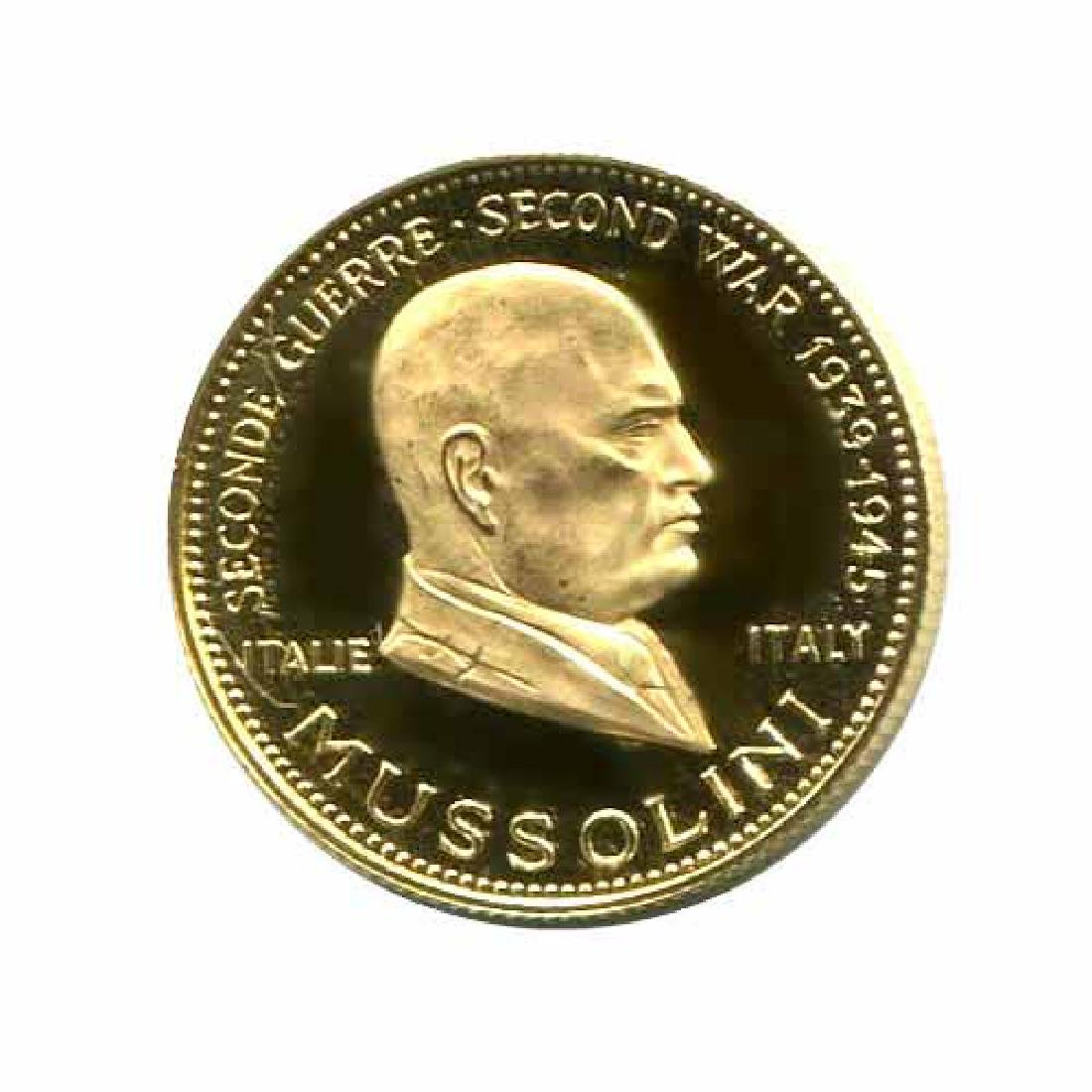 WWII Commemorative Proof Gold Medal 7g. 1958 Mussolini