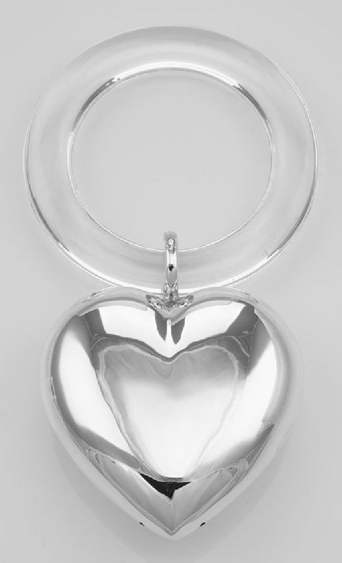 Engravable Sterling Silver Large Heart Rattle - Teethin