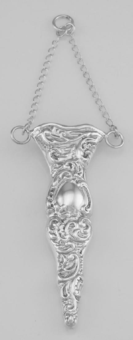 Antique Scroll Design Sterlng Silver Scissor Holder for