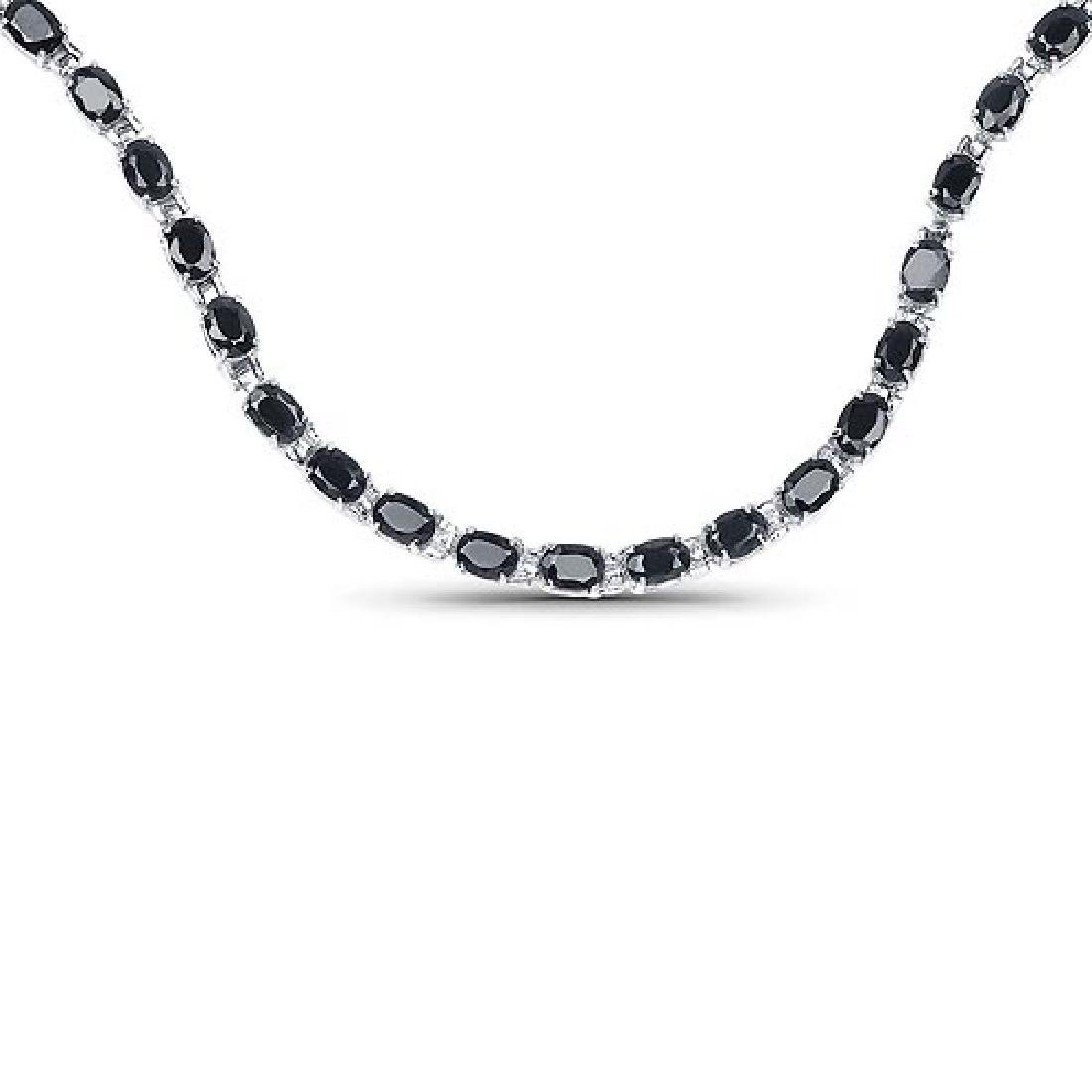 30.10 Carat Genuine Black Sapphire .925 Sterling Silver
