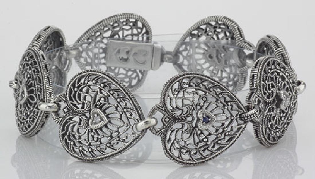Victorian Style Filigree Heart Bracelet Diamond and Sap