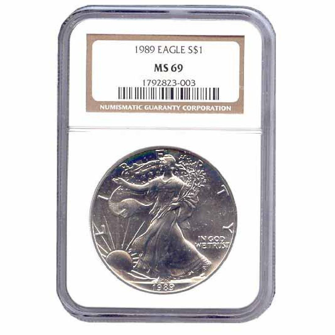 Certified Uncirculated Silver Eagle 1989 MS69