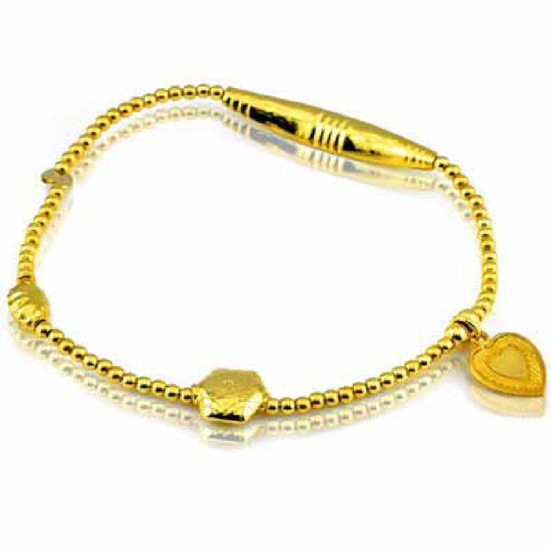 24K GOLD PLATED CHARM AND BEAD STRECHABLE BRACELET 0.9